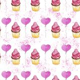 Watercolor romantic pattern with cupcake and heart balloon.