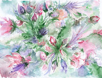 Watercolor romantic pink green violet flowers background Stock Photo