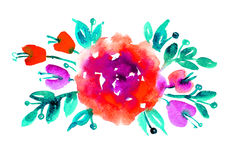 Watercolor romantic roses. Stock Images