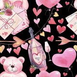 Watercolor romantic seamless pattern for Valentine`s Day with teddy bears, bottle of wine, letter, balloons and hearts. stock illustration