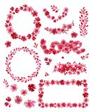 Watercolor romantic set of floral frames, elements and letering, isolated on white background. Pink flowers, buds and leaves. Han. D drawing illustration Stock Image