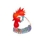 Watercolor  Rooster. Illustration with splash watercolor textured background. 2017 is the year of Red Fire Chicken on Chinese zodiac Stock Photos