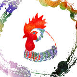 Watercolor  Rooster. Illustration with splash watercolor textured background. 2017 is the year of Red Fire Chicken on Chinese zodiac Royalty Free Stock Image
