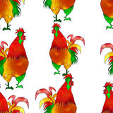 Watercolor  Rooster. Seamless pattern. Royalty Free Stock Photo