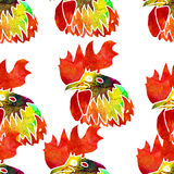 Watercolor  Rooster. Seamless pattern. Watercolor  Rooster. illustration with splash watercolor textured background. 2017 is the year of Red Fire Chicken on Stock Images