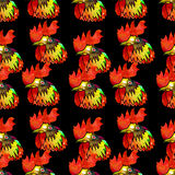 Watercolor  Rooster. Seamless pattern. Stock Photo
