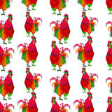 Watercolor Rooster. Seamless pattern. Watercolor Rooster. illustration with splash watercolor textured background. 2017 is the year of Red Fire Chicken on Vector Illustration
