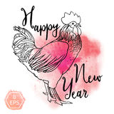 Watercolor rooster Stock Images
