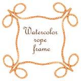 Watercolor rope frame. Banner on white background stock illustration