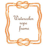 Watercolor rope frame Stock Photos