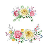 Watercolor rose bouquets Stock Images