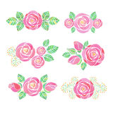 Watercolor rose flower compositions. Set on white background Stock Image