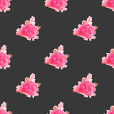 Watercolor rose flower hand painted seamless pattern background Stock Photography