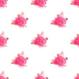 Watercolor rose flower hand painted seamless pattern background Stock Photo