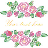 Watercolor rose flowers banner Royalty Free Stock Photography