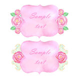 Watercolor rose flowers banner. On white background Stock Photo