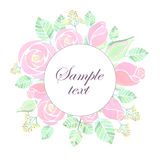 Watercolor rose flowers banner. On white background Royalty Free Stock Images