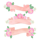 Watercolor rose flowers banner. On white background Royalty Free Stock Image