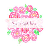 Watercolor rose flowers banner. On white background Stock Image