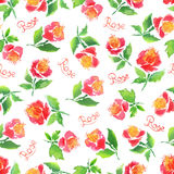 Watercolor rose pattern Stock Photography