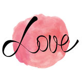 Watercolor rose pink round splash with love word Stock Photography