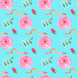 Watercolor rose and worm in vintage style Royalty Free Stock Image