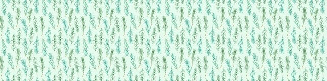 Watercolor Rosemary pattern seamless, green rosemary decoration, craft label design bio food Stock Images
