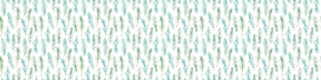 Watercolor Rosemary pattern seamless, green rosemary decoration, craft label design bio food Stock Photos