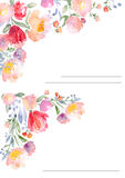 Watercolor roses card template Stock Photography