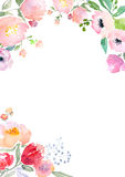 Watercolor roses card template Royalty Free Stock Photography