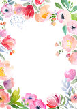 Watercolor roses card template Royalty Free Stock Photos