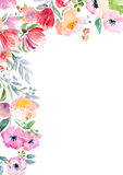 Watercolor roses card template Royalty Free Stock Photo