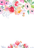 Watercolor roses card template Stock Photo