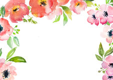 Watercolor roses card template Stock Image