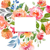 Watercolor roses card template Royalty Free Stock Images