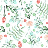 Watercolor Roses, Ferns And Spots Seamless Pattern. In Pastel Colors Royalty Free Stock Photos
