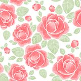 Watercolor roses. Floral seamless pattern 3. Hand drawn watercolor floral seamless pattern Stock Image