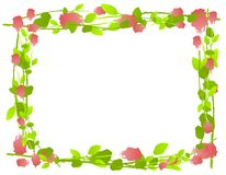 Watercolor Roses Frame Border stock illustration