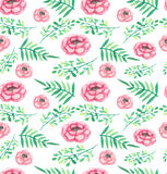 Watercolor Roses And Green Leaves Seamless Pattern Royalty Free Stock Photo