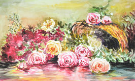 Watercolor of roses. Illustration of roses.Created by watercolor technique stock illustration