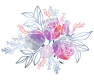 Watercolor Roses and Mimosa Bouquet. Hand drawn stylized floral coposition with watercolor texture fill. Mysterious night purple, pink and grey colors vector illustration