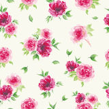 Watercolor roses seamless pattern Stock Photo