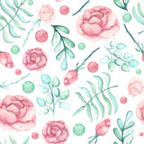 Watercolor Roses, Spots And Light Green Leaves Seamless Pattern. Watercolor Pink Roses, Spots And Light Green Leaves Seamless Pattern Stock Photo