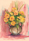 watercolor roses in vase Royalty Free Stock Image