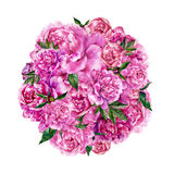 Watercolor round composition. Hand drawn watercolor round composition made of pink peonies and green leaves. Botanical illustration in trendy vintage style Stock Photo