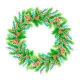 Watercolor round frame with fir-tree Royalty Free Stock Photos