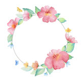 Watercolor round frame. Royalty Free Stock Images