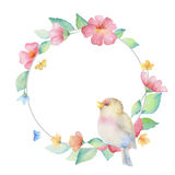 Watercolor round frame. royalty free illustration