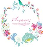 Watercolor round frame Flowers Royalty Free Stock Images