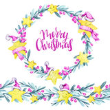Watercolor round frame and seamless horizontal banner. Cartoon stars in warm cloths , leaves and berries. New Year. Merry Christmas. Celebration illustration Stock Photos